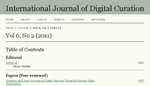 International Journal of Digital Curation Vol.6,2