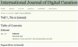 International Journal of Digital Curation, Vol 7, No 2 (2012)