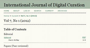 International Journal of Digital Curation Vol.7,1