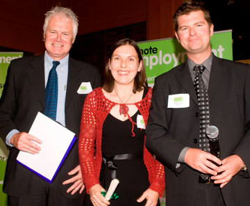 Marieke Guy (centre) won The Remote Worker Award and receives her prize from Rob Fox of Toshiba and Ken Sheridan of Remote Employment. Photo by ECP Studio.