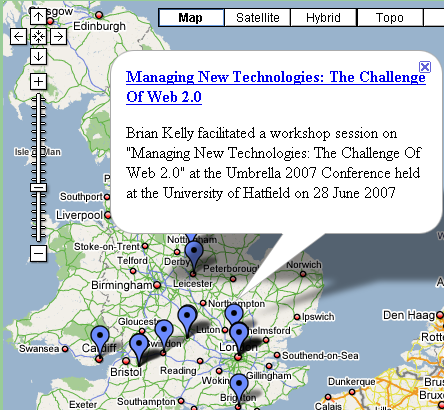 Figure 1: Mashup Of Location Of  UK Web Focus Events